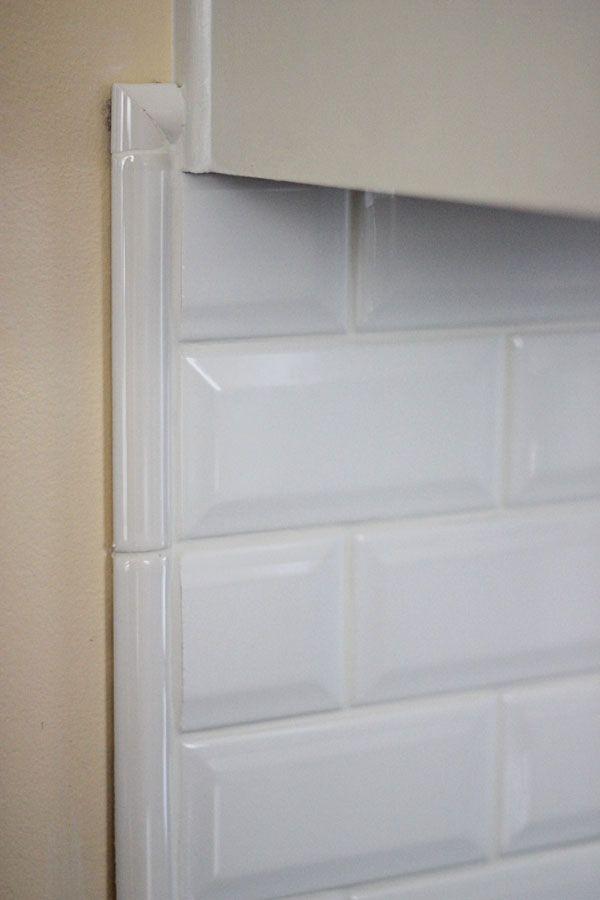 beveled subway tile backsplash border idea if I have to do one