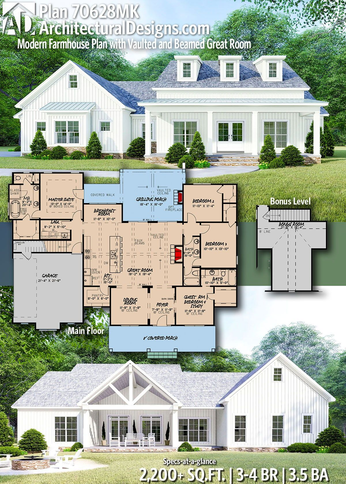 Plan 70628mk Modern Farmhouse Plan With Vaulted And Beamed Great Room Modern Farmhouse Plans Farmhouse Plans Dream House Plans