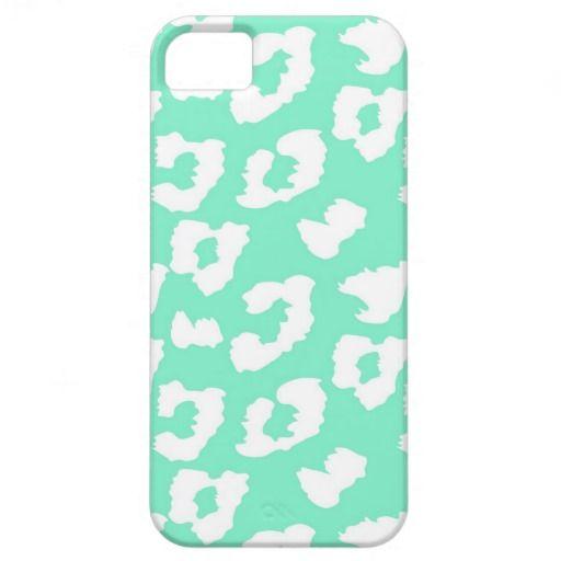 Mint Green Cheetah Leopard Print iPhone 5/5S Covers