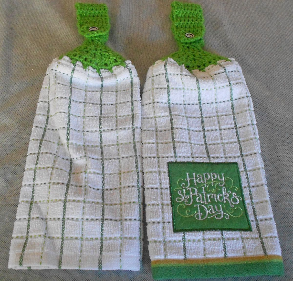 St. Patrick's Day Crochet Top Towels - St. Patty's Day Hand towels - Handle Top Irish Towels - Irish Granny Towels - Irish Hanging Towels by CrochetByIlene on Etsy