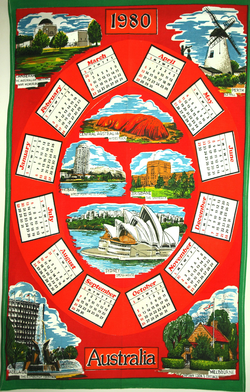 Australian 1980 Calendar Tea Towel Retro Vintage Cotton Birthday