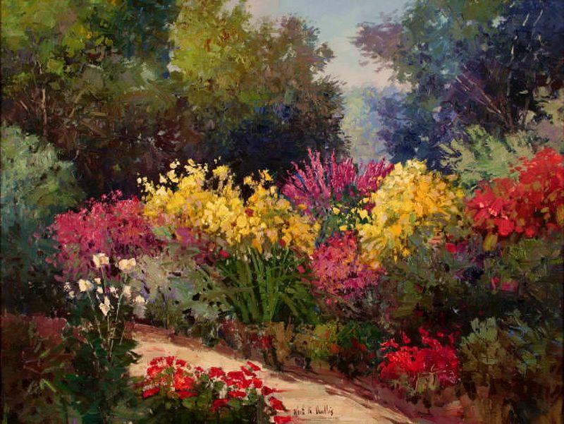 Kent R Wallis Impressionist Painter Painting Art Garden