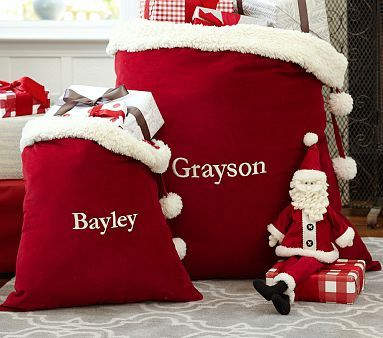 Red Velvet Santa Bags Christmas Decorations For Kids