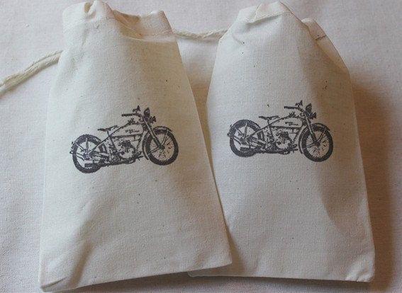 10 Harley Davidson Motorcycle Favor Bags - Organic Muslin Cotton ...