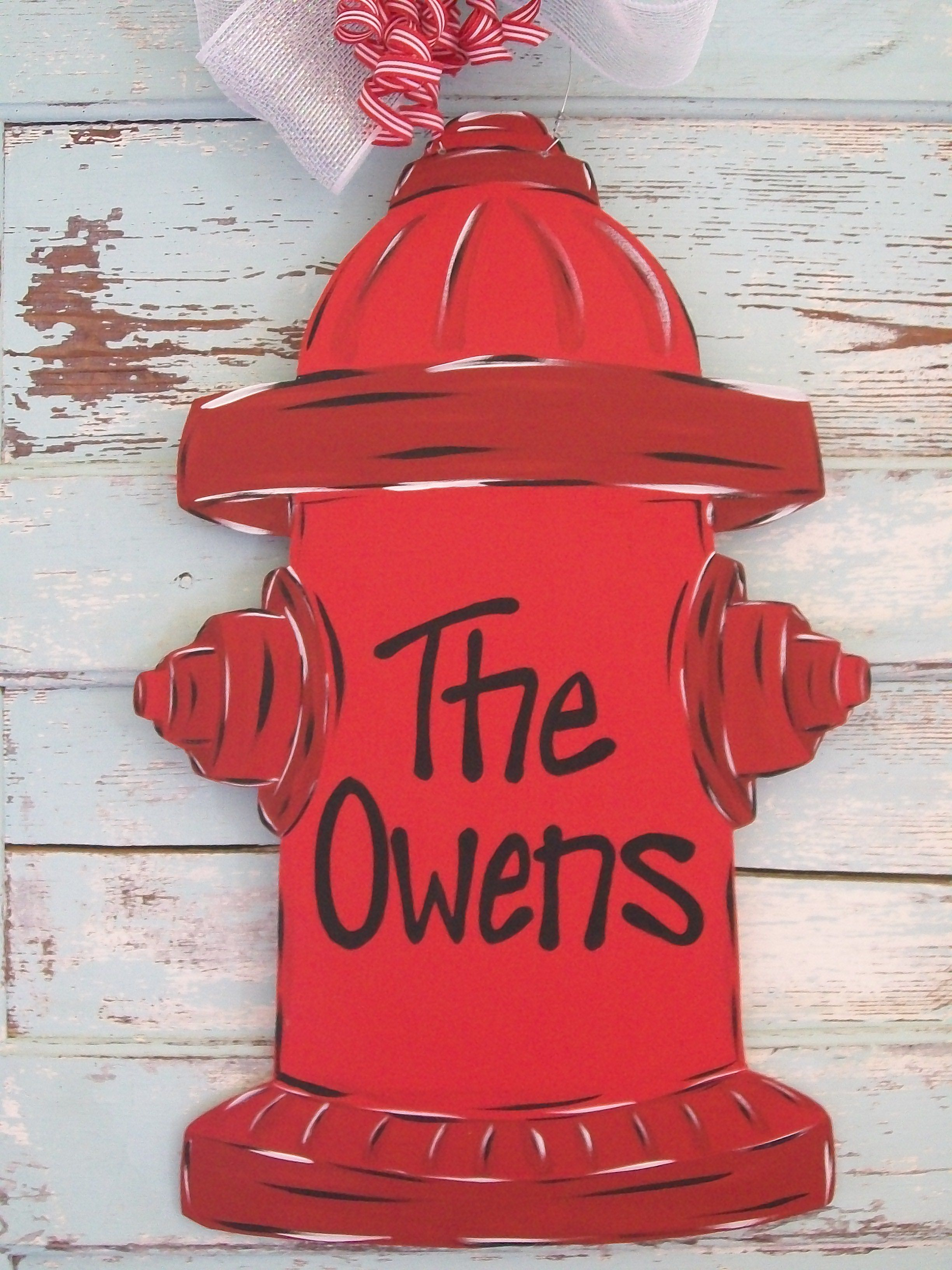 a8530167d3f9 Fireman Fire Hydrant personalized Door hanger. Approx 28