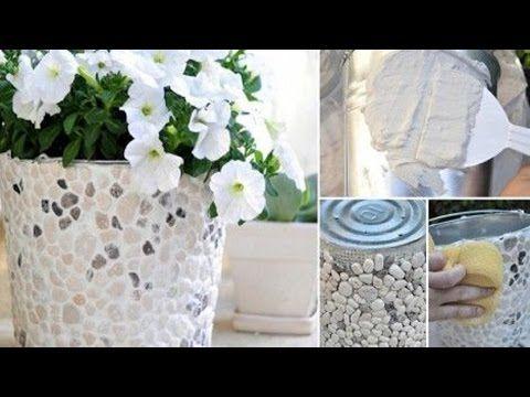 cómo hacer macetas decoradas con yeso y piedras naturales paso a