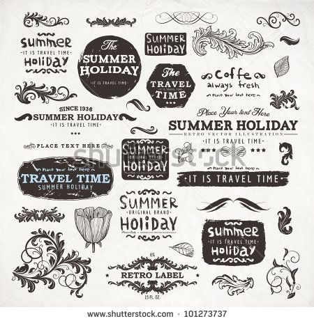 ?alligraphic elements and page decoration, Summer Holiday and Travel Time Label collection with black grungy design for old style design. Eps10 vector set.
