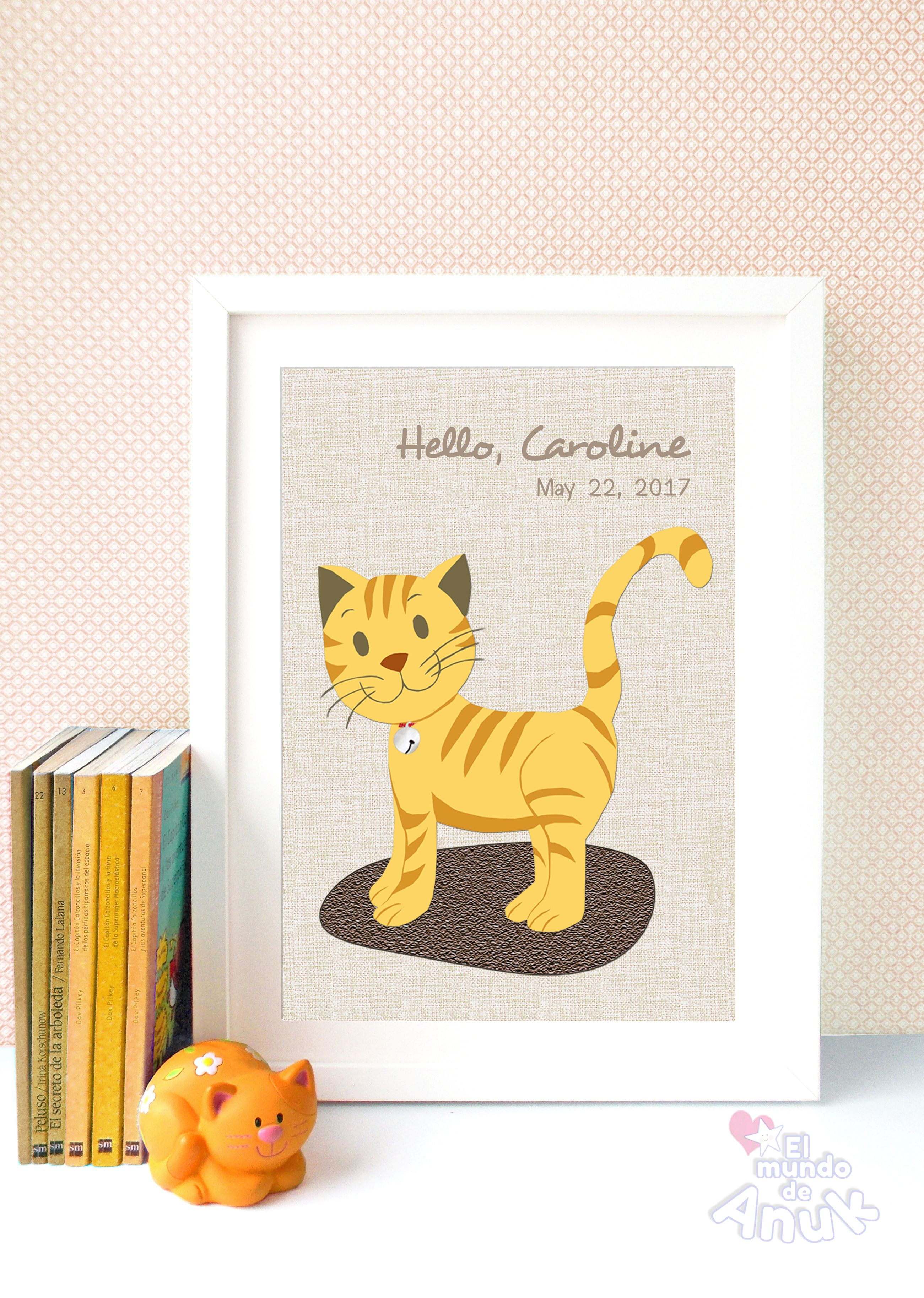 Nursery Wall Art, Golden Cat, Cat Print, Nursery Decor, Golden Kitty ...