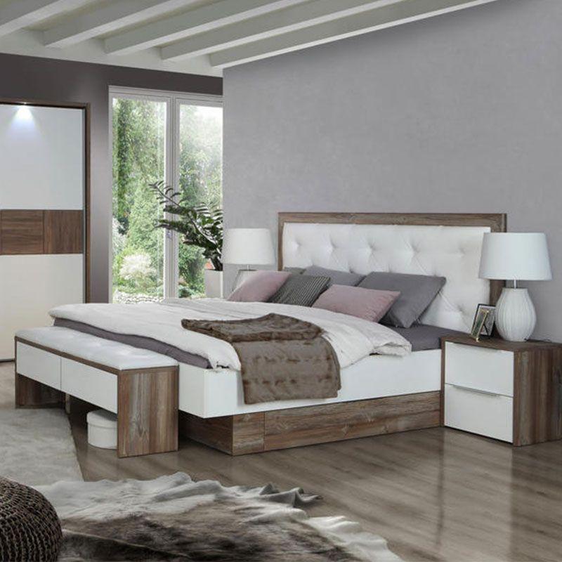 Doppelbett, Holzbett, Lederkopfteil, weiß lackierter