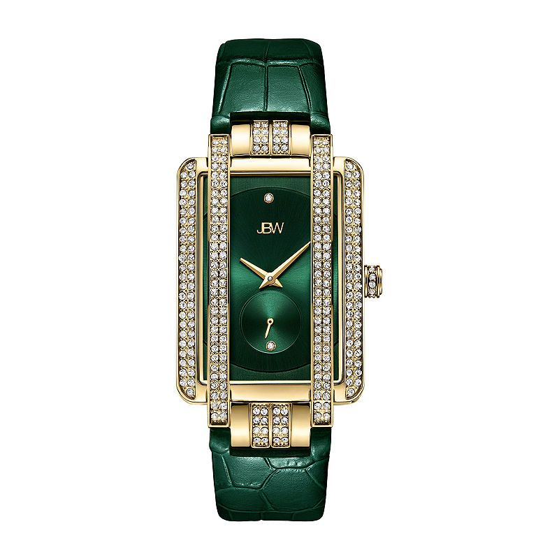Jbw Genuine Diamond Accent Womens Diamond Accent Green Leather