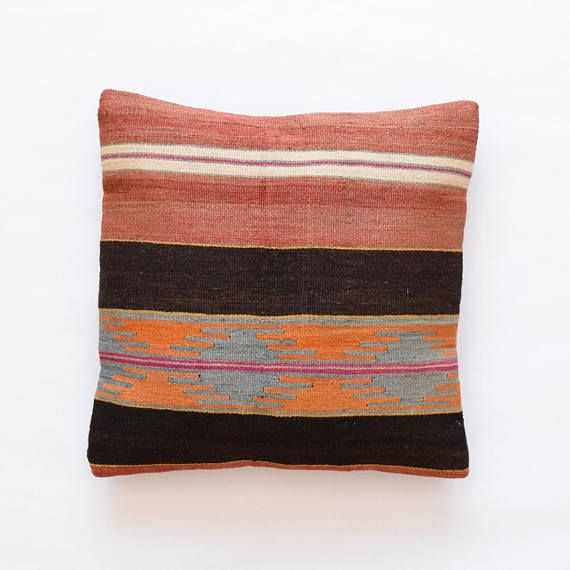 kilim rug pillow cover 16 x16 40x40cm 019 coussin sol. Black Bedroom Furniture Sets. Home Design Ideas