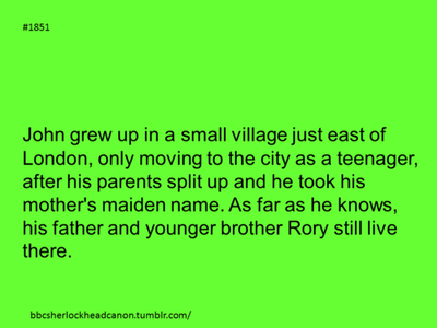 John Watson is Rory Williams older brother. HEADCANON ACCEPTED!