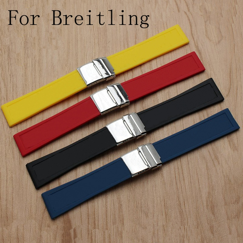 ec7cd7ed76e TJP Brands High Quality Silicone Rubber Watch Strap Watchbands Bracelet For  navitimer avenger Breitling Wristband