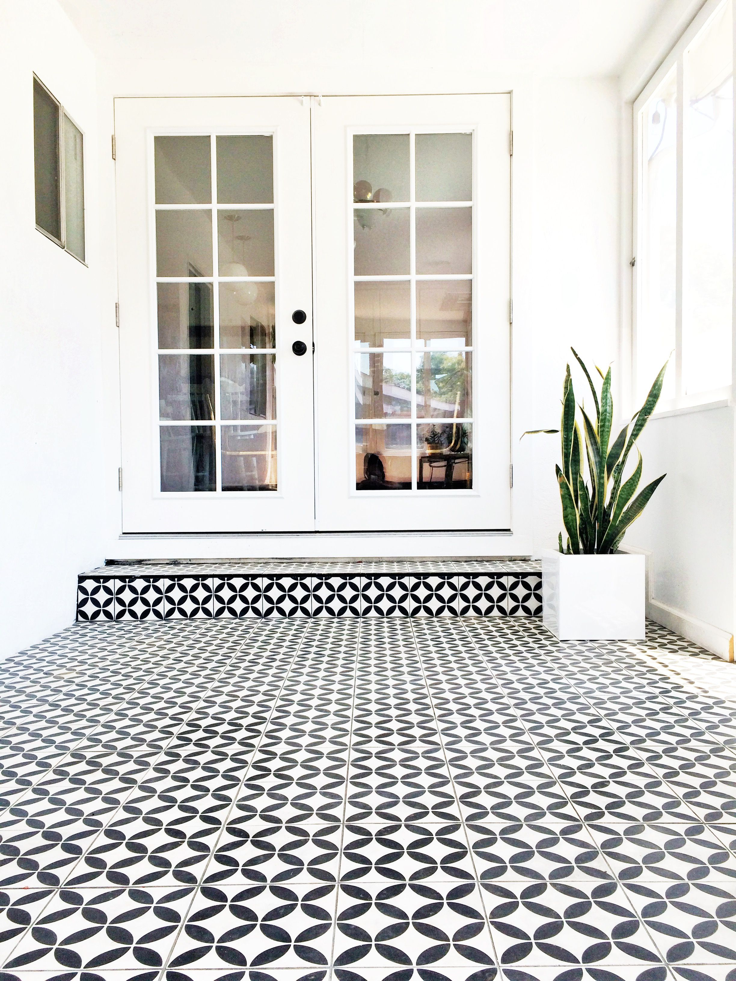 Black White Cement Tile In Sunroom Brittanymakes White Exterior Houses House Designs Exterior Porch Tile