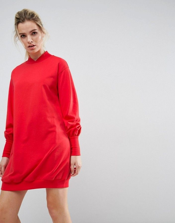 Oversized Sweat Dress with Balloon Sleeve - Rose Asos