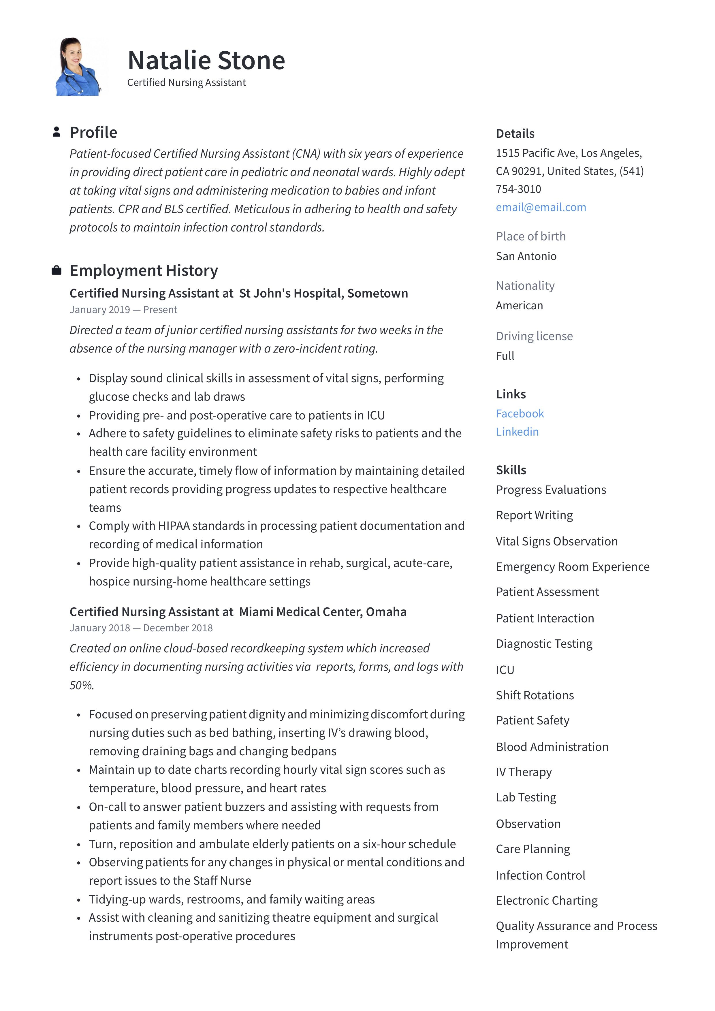 Certified Nursing Assistant Resume Template in 2020