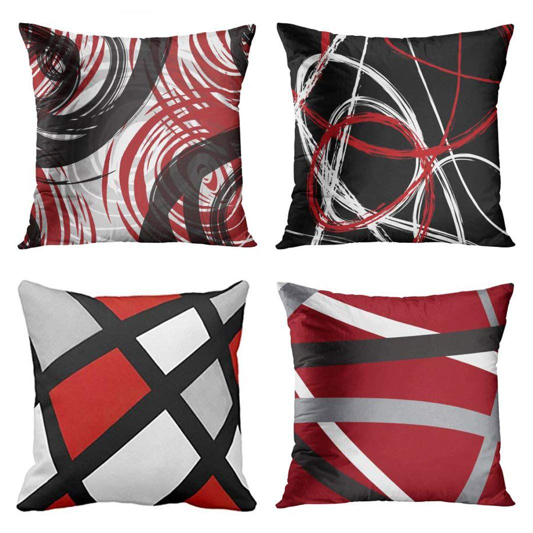 Emvency Set of 4 Throw Pillow Covers Red and Black White