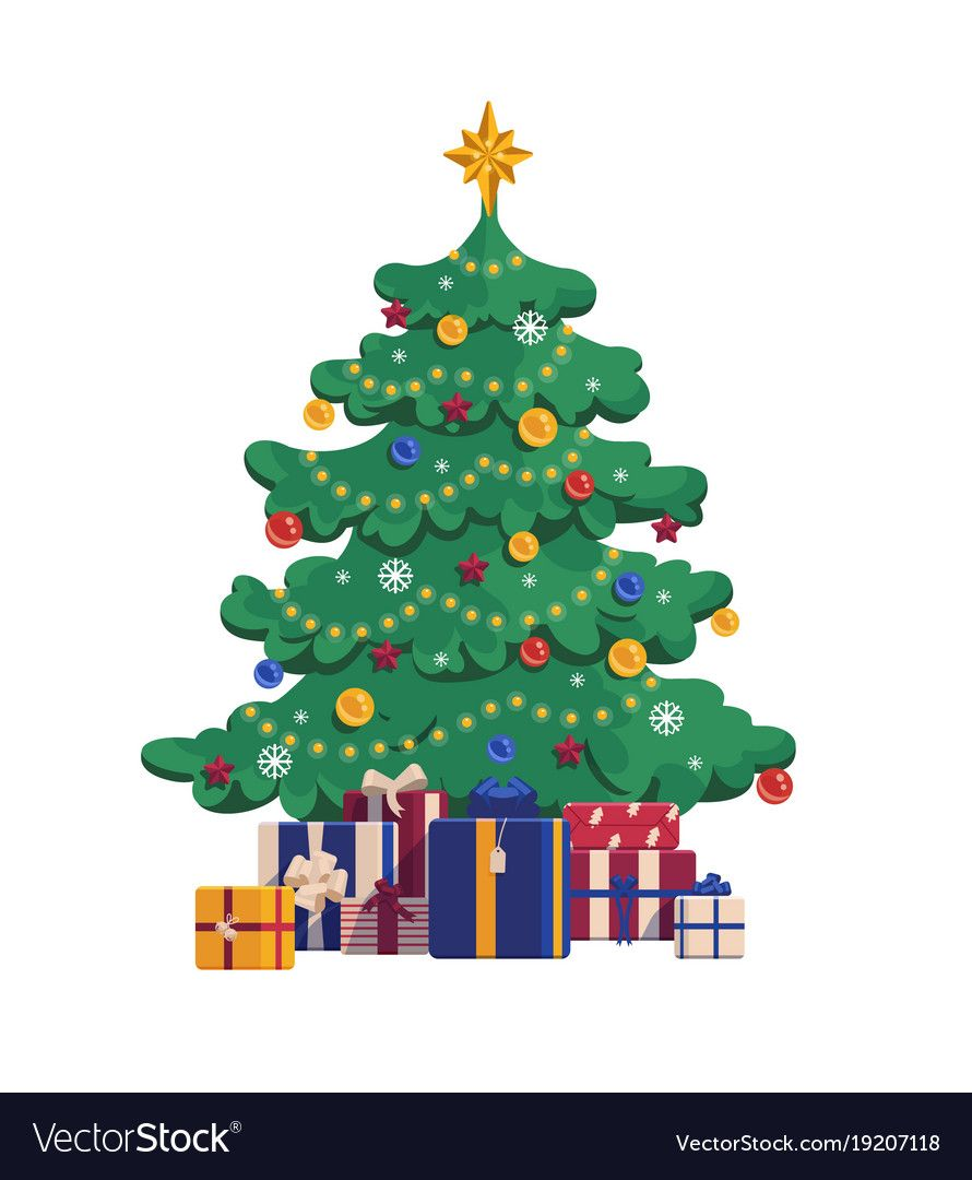 Cartoon Christmas Tree With Gift Boxes Xmas Vector Image On