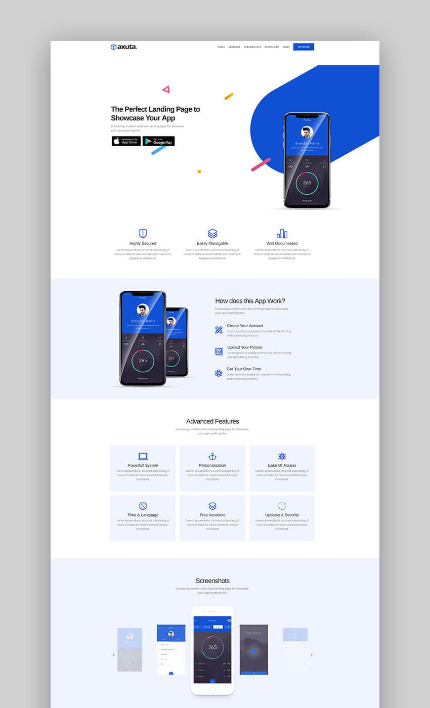 Axuta Minimal Template For App Landing Pages Web Design Websites Web App Design Minimal Web Design