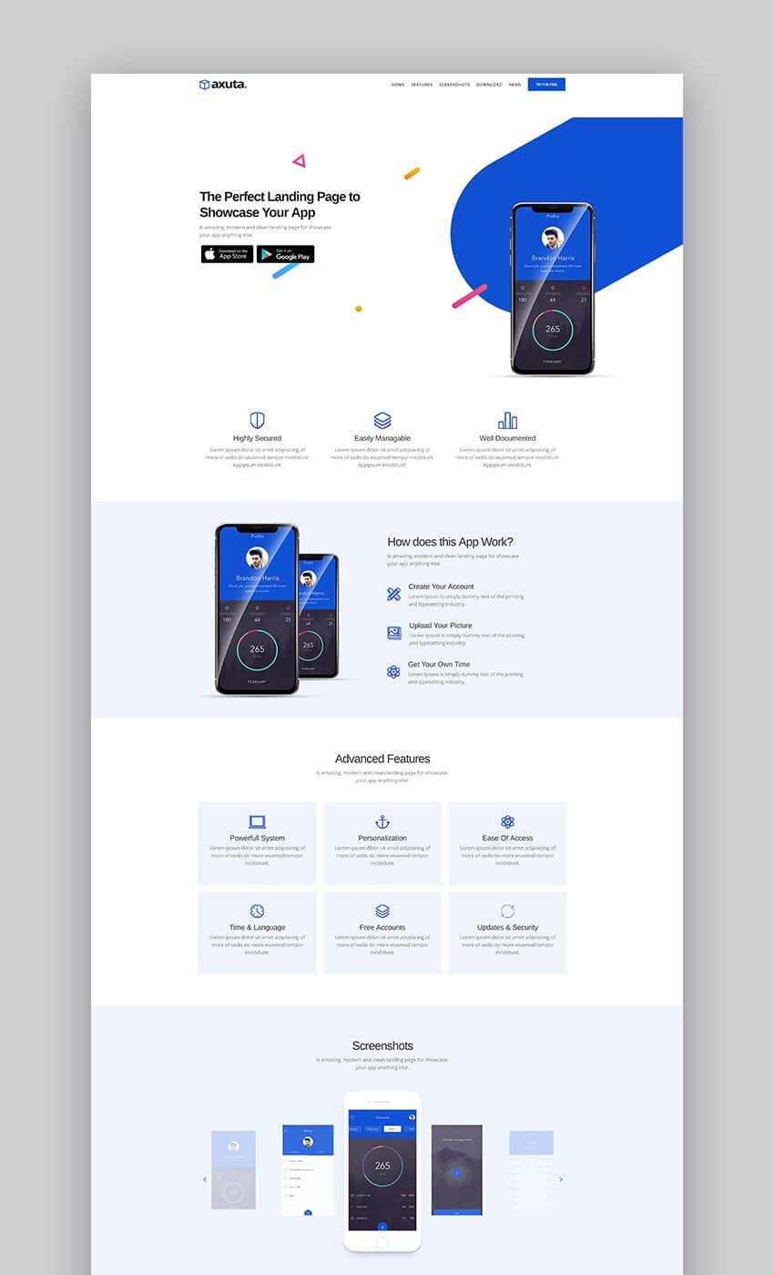 Axuta | App Landing Page Template