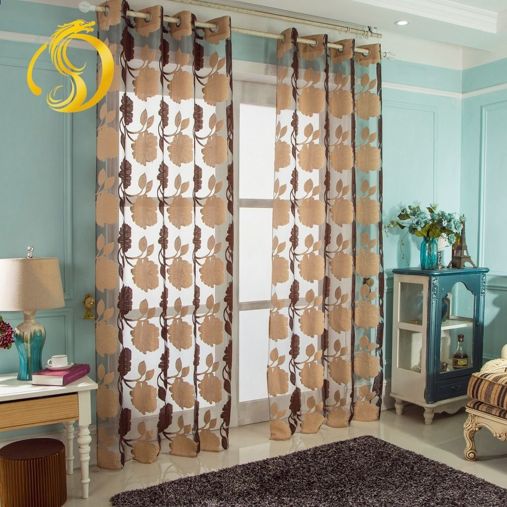 Neue Ankunft Mehrere Farbe Floral Tüll Vorhänge Für Küche Vorhänge Für  Wohnzimmer Fenster Behandlungen Perlen Tür