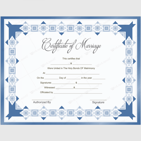 Blue Marriage Certificate Template Certificate Marriage Card