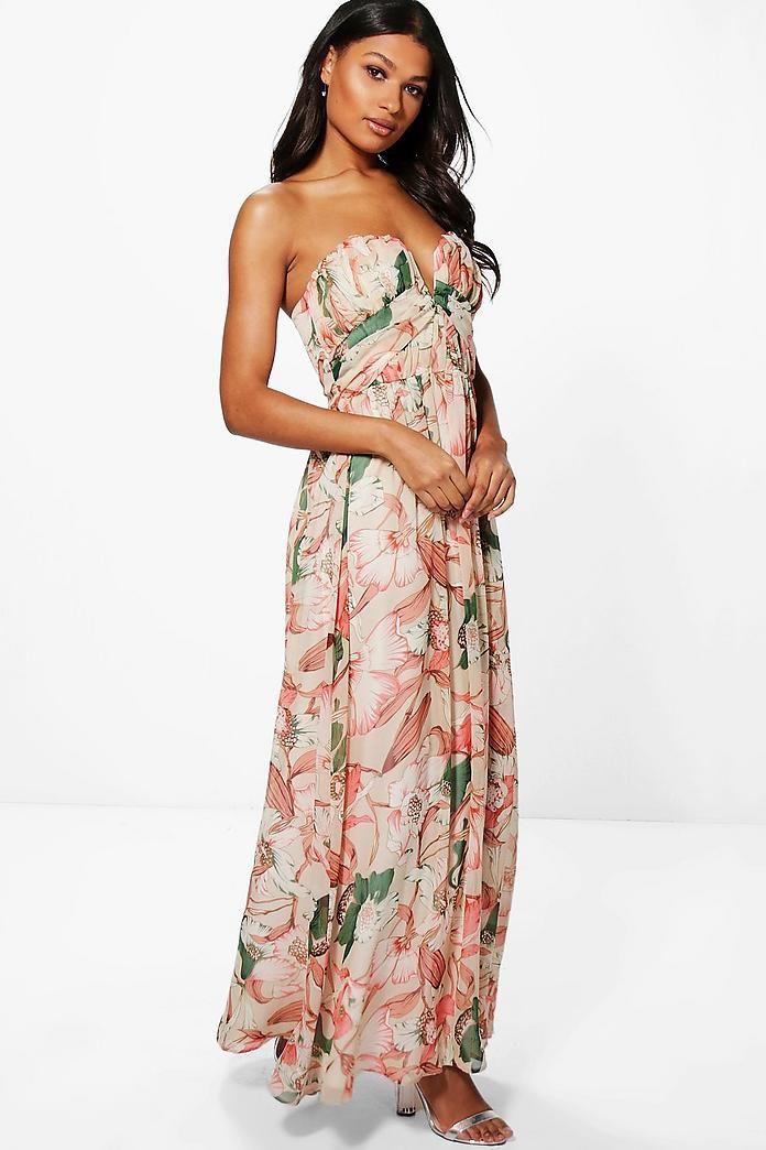 Boutique Kelly Floral Bandeau Maxi Dress Boohoo Uk Bandeau Maxi Dress Maxi Dress Dresses
