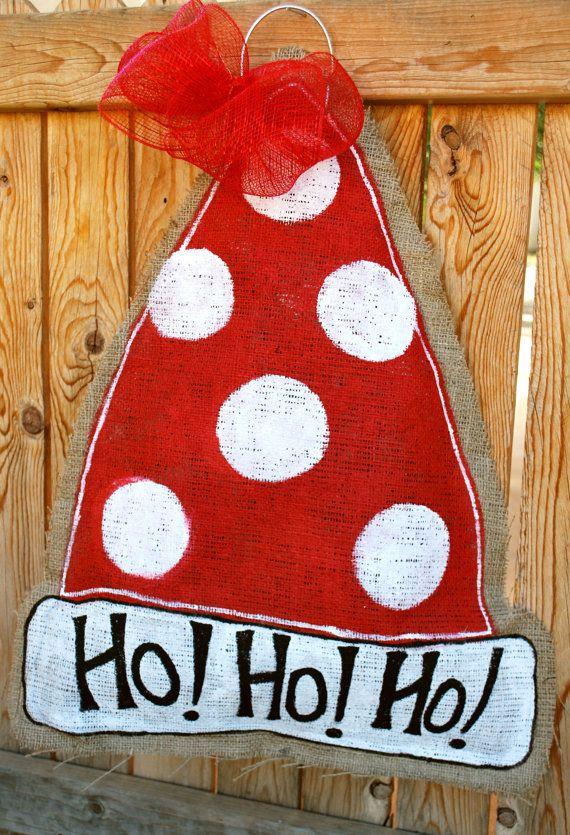 Santa Hat Burlap Door Hanger
