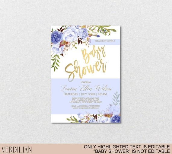 Blue Gold Floral Baby Shower Invitation Template - Blue Peonies Baby Boy Invite - DIY Printable Invitation-PDF-Instant Download|VRD146LWG #bluepeonies