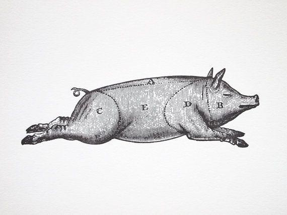 Letterpress Art Print Le Cochon 8x10 - Pork Meat Cuts Chart ...
