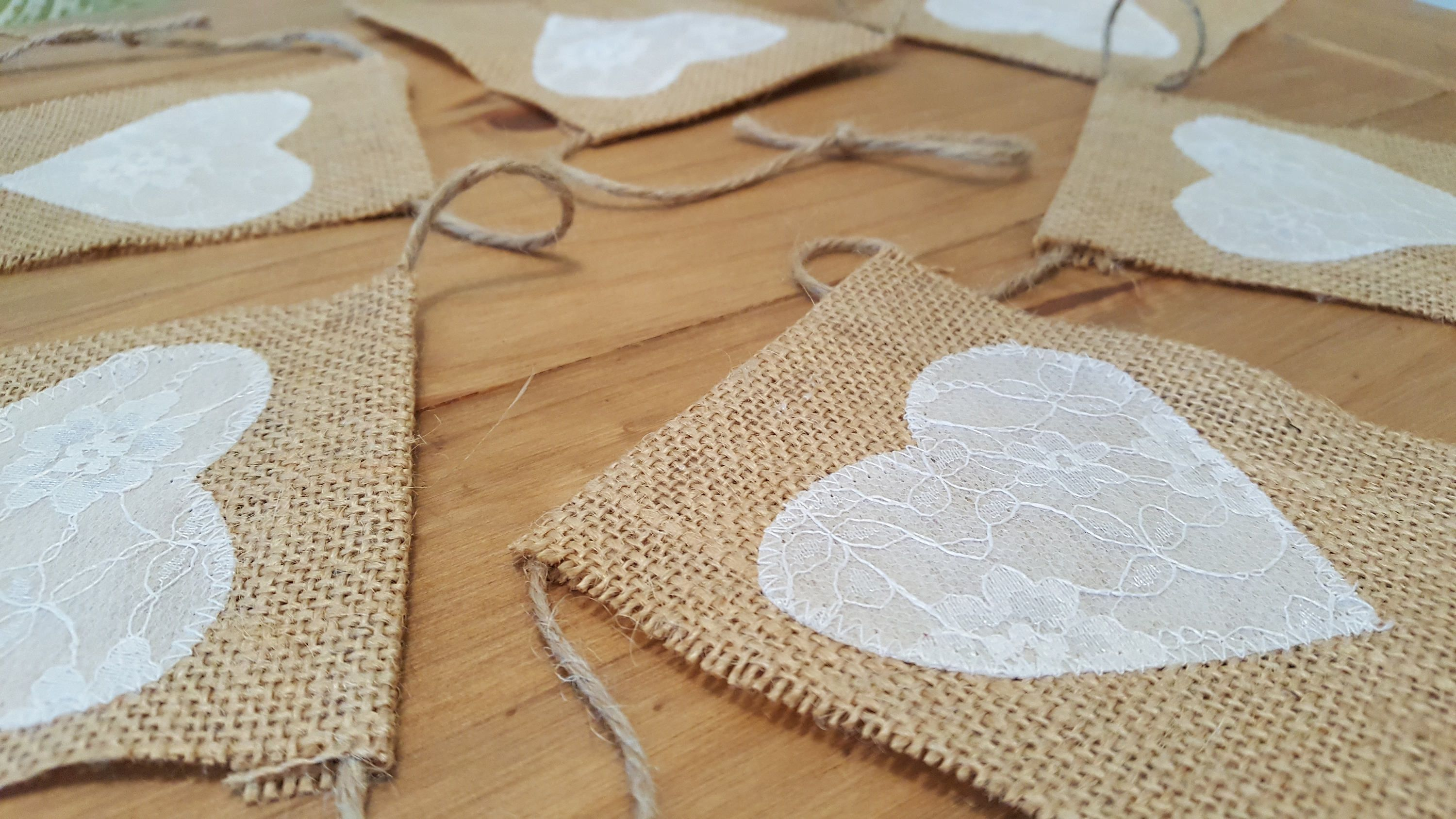 Burlap and lace heart bunting. Wedding bunting by Twiddliebits on Etsy