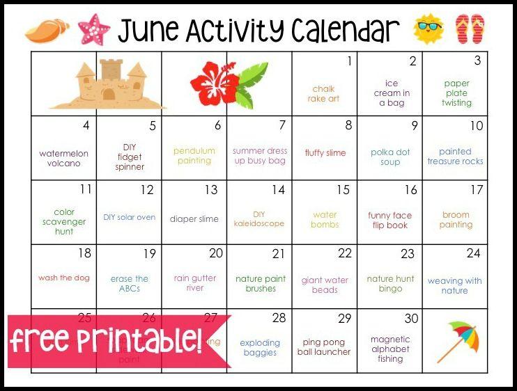 June Activity Calendar  June Activities And Plays