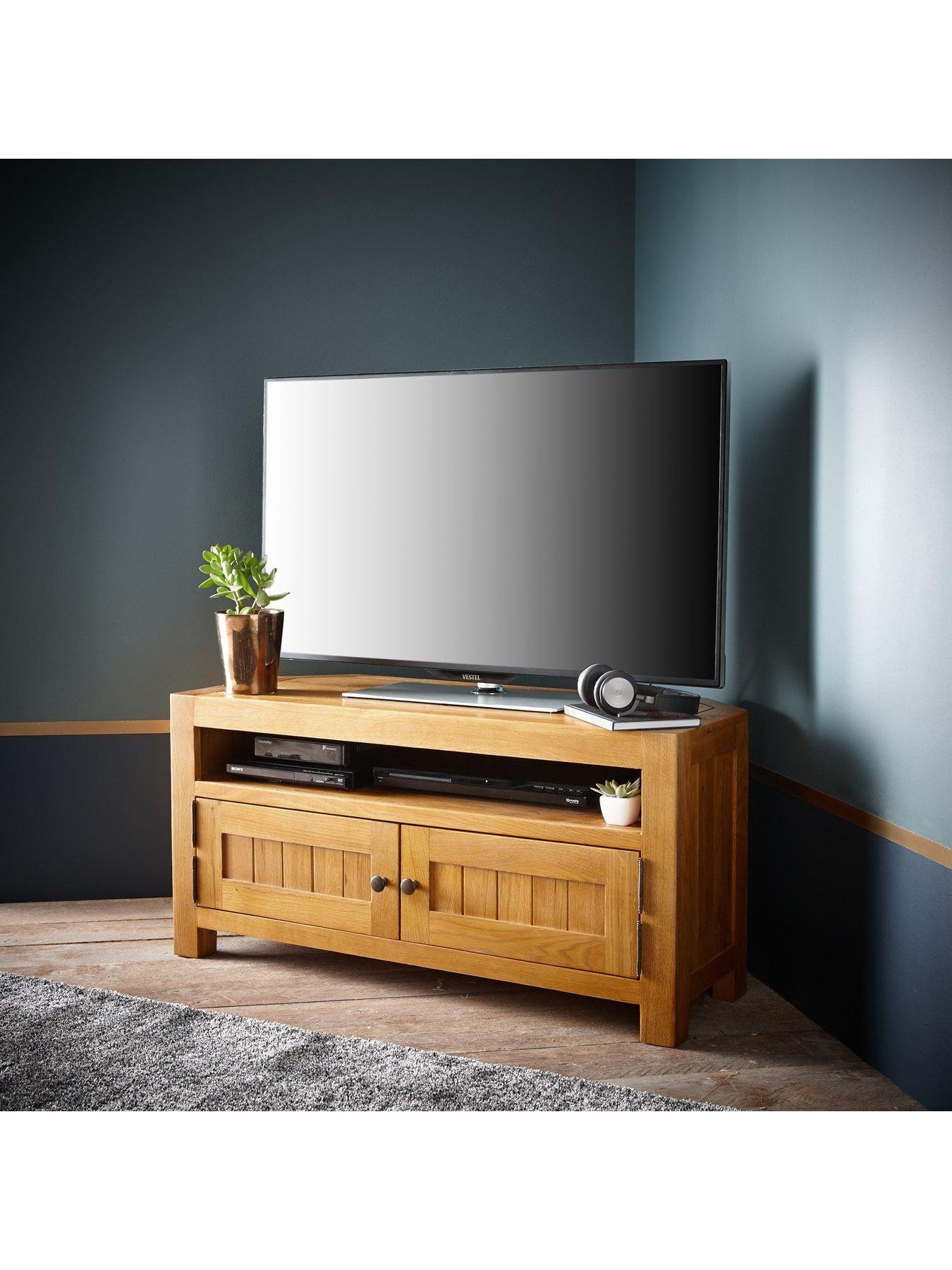 Grantham 100 Solid Oak Ready Assembled Corner Tv Unit Fits Up To 46 Inch Tv Corner Tv Unit Corner Tv Tv Unit