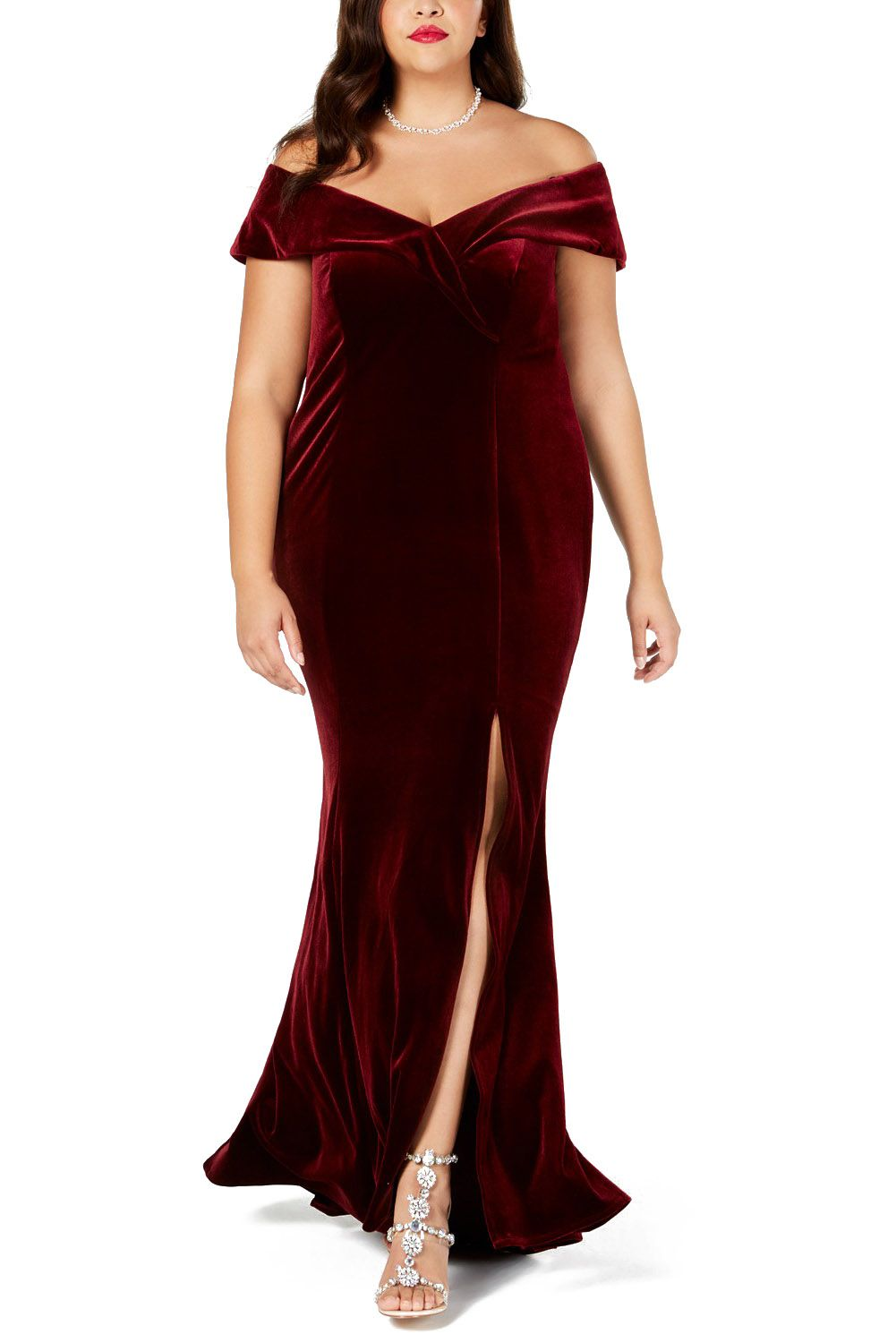 Red Gown Off The Shoulder Velvet Plus Size Evening Party Dress Plus Size Party Dresses Plus Size Gowns [ 1500 x 1001 Pixel ]