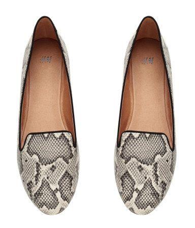 72ca22d8174 Black   white snakeskin pattern loafers.