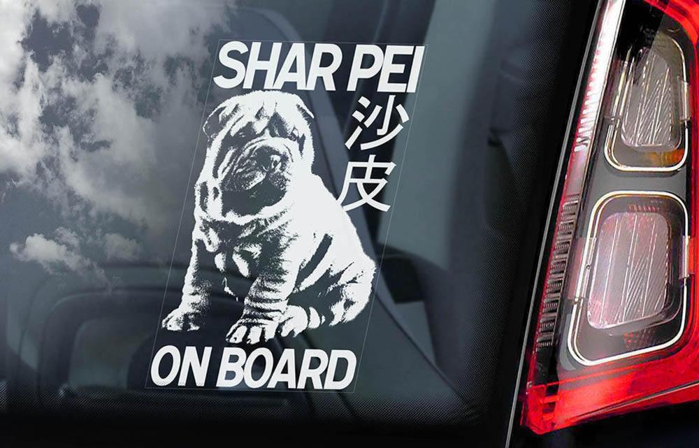 Shar Pei on Board Car Window Sticker Chinese Dog Sign