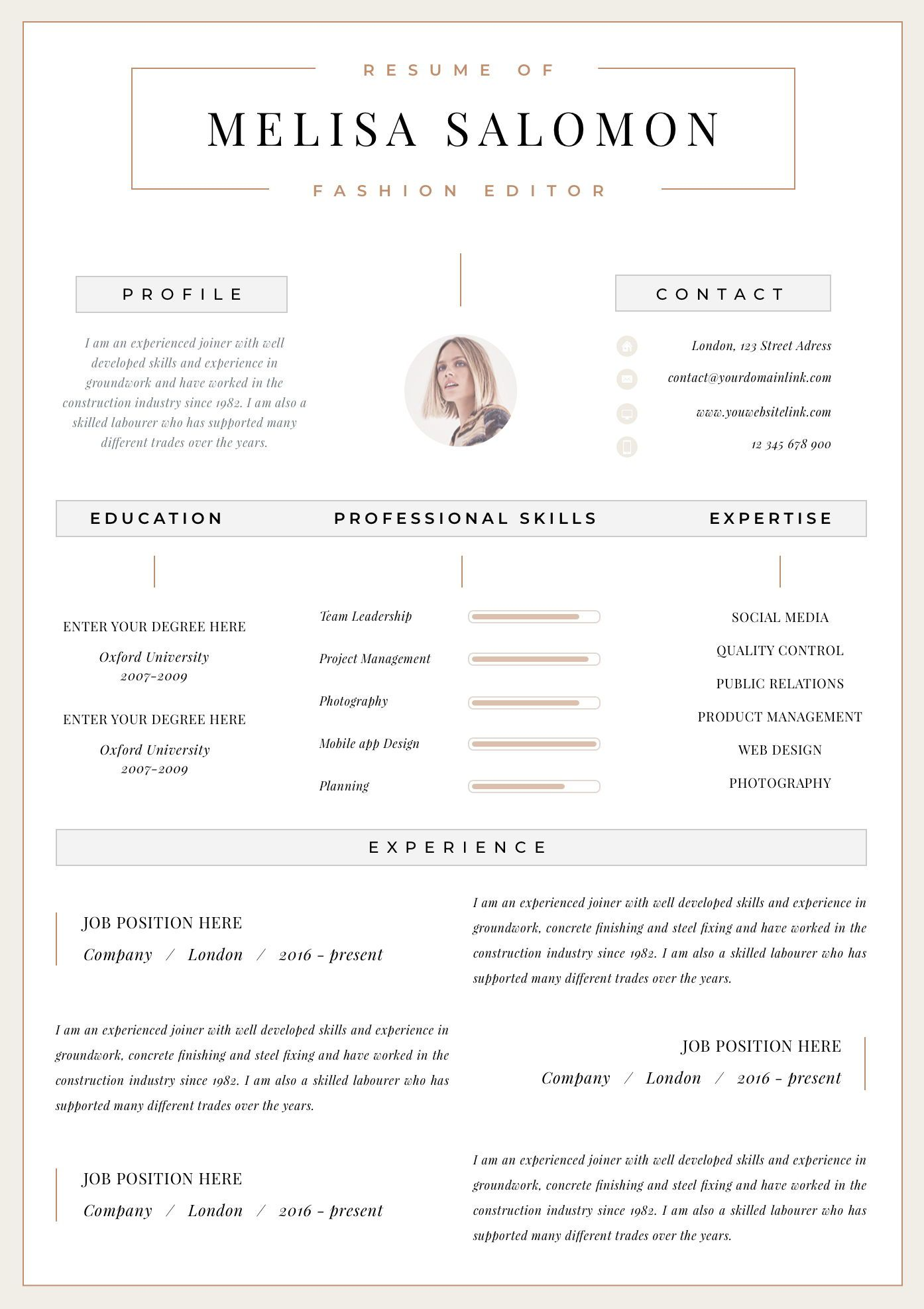 Professional Resume Template Clean Modern Resume Template One Page Resume Instant Download Resume Cv Template For Word Zurich Resume Template Professional One Page Resume Modern Resume Template