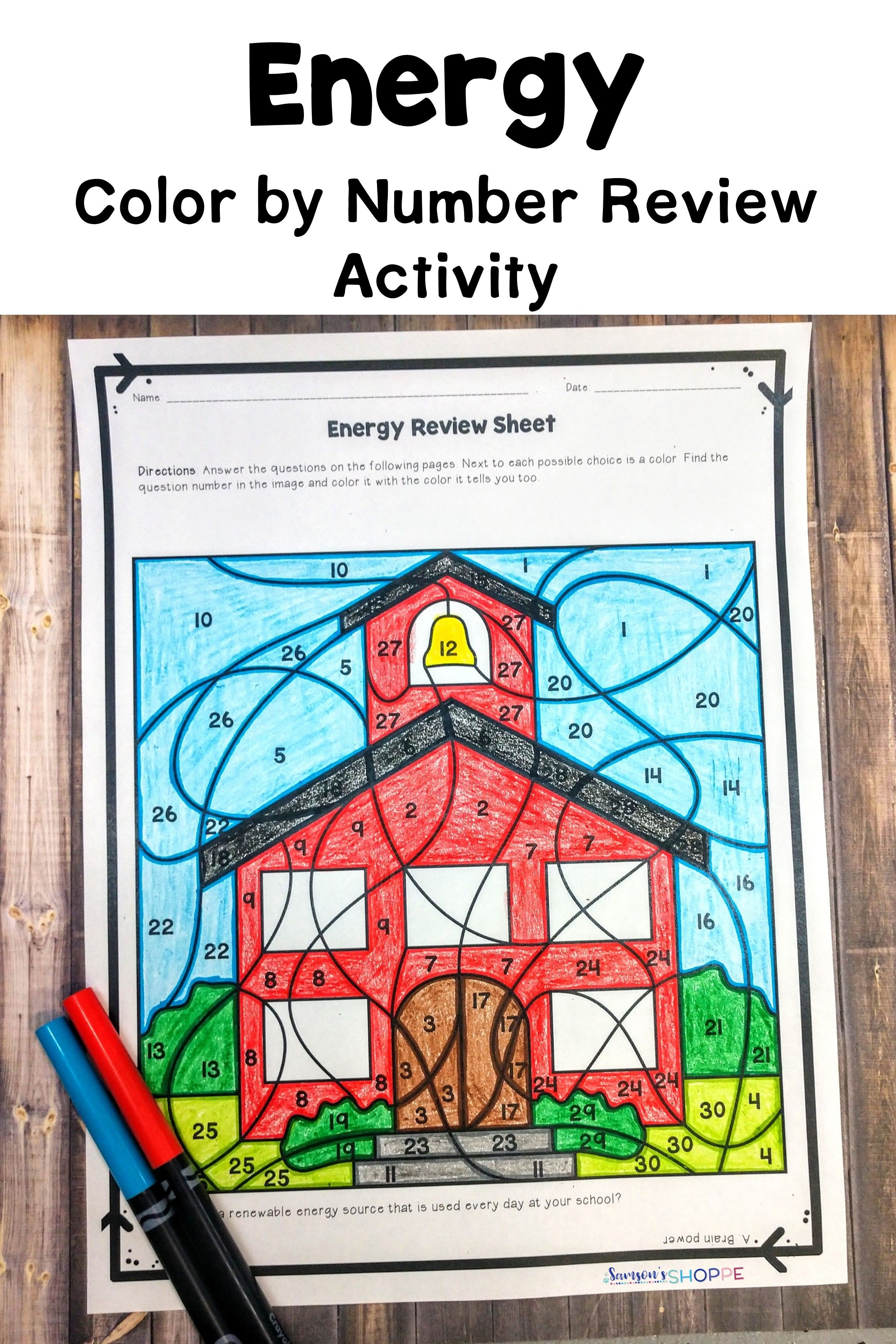 Energy Color By Number Review Activity For Potential