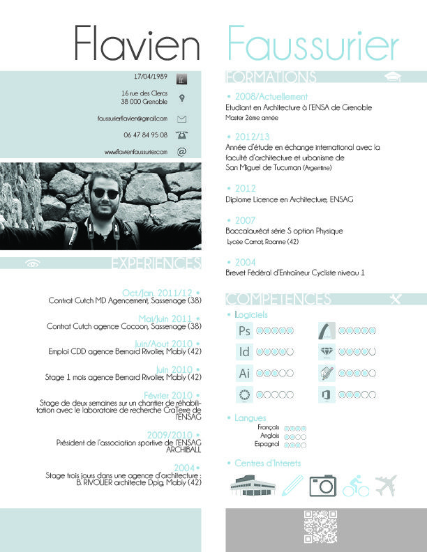 CV Flavien FAUSSURIER CV   Cartes de Visite Pinterest - application architect resume
