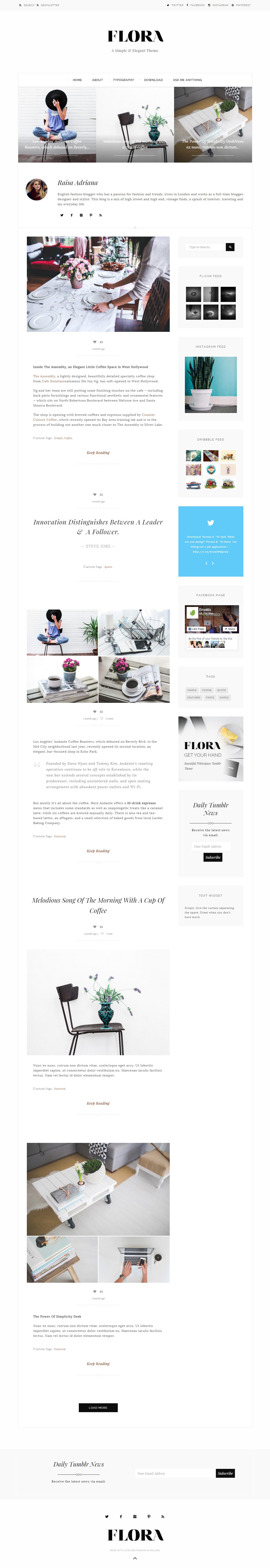 Flora - Premium Responsive Tumblr Theme | Tumblr Responsive Themes
