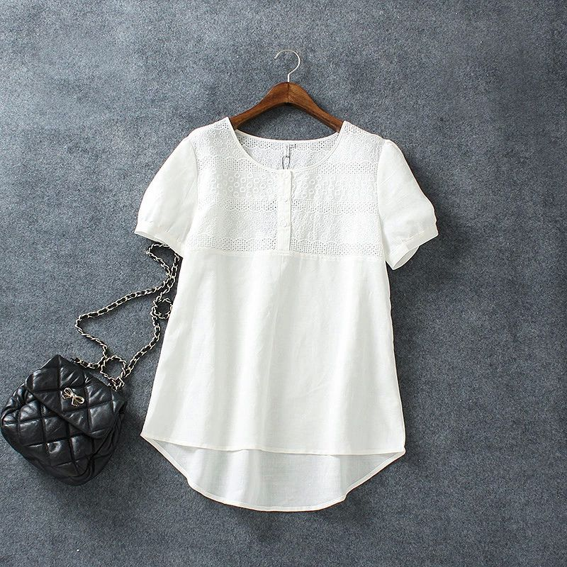 1188b68ef2a XH04 Fashion Women Cotton Linen Elegant Embroidery Hollow out Blouse O neck  Short Sleeve white shirts
