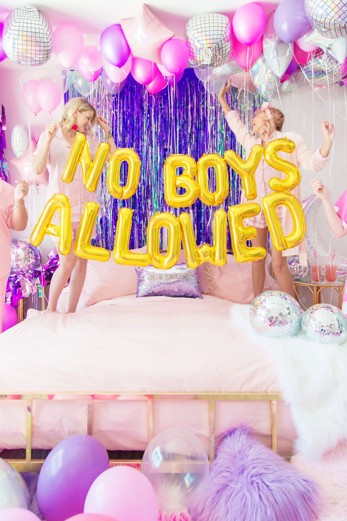 No Boys Allowed A Holographic Neon Slumber Party Studio Diy Slumber Party Birthday Birthday Party For Teens Fun Sleepover Ideas