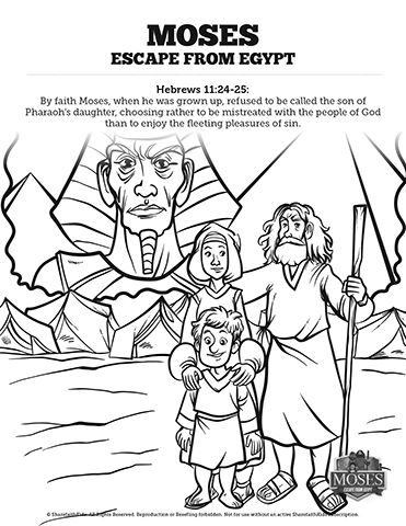 Exodus 2 Moses Escapes From Egypt Sunday School Coloring Pages: Get ...