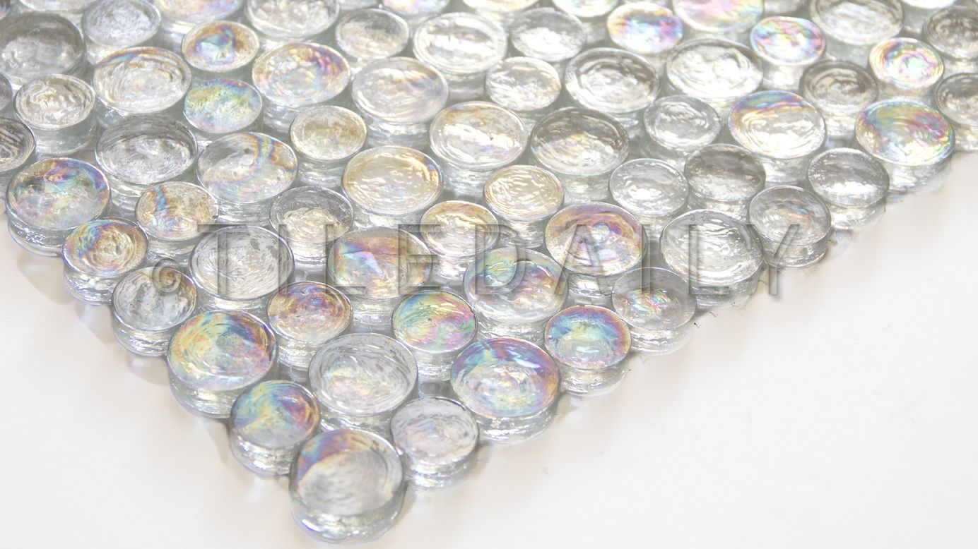 Random Iridescent Penny Round, Clear White – SALE | tiledaily ...