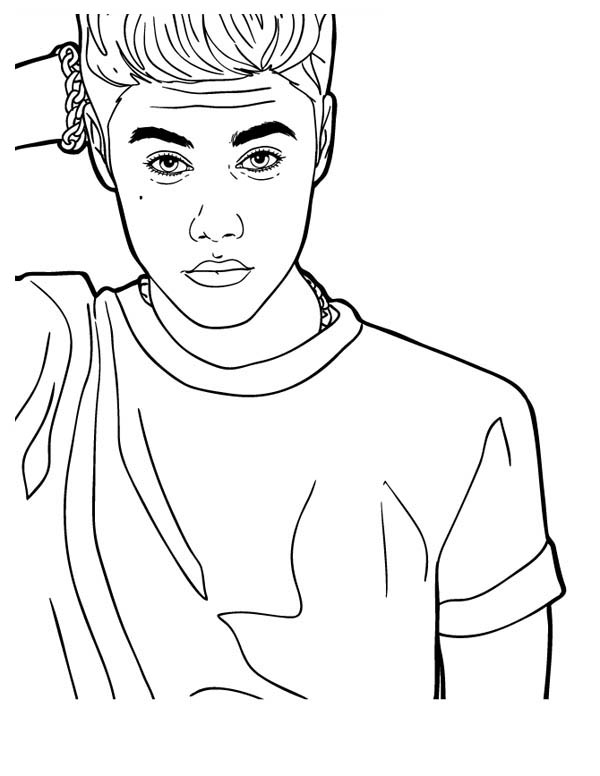 Justin Bieber Looking Confused Coloring Page Netart In 2020 Justin Bieber Sketch Super Coloring Pages People Coloring Pages