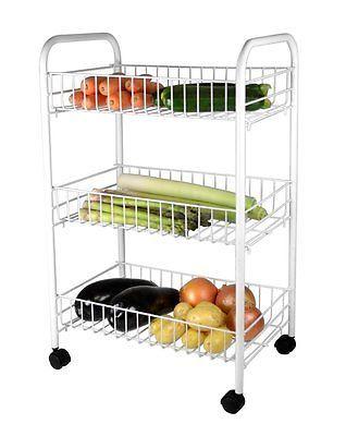 Légumes fruits trolley panier RACK blanc support de stockage étagère 3 étages roues New