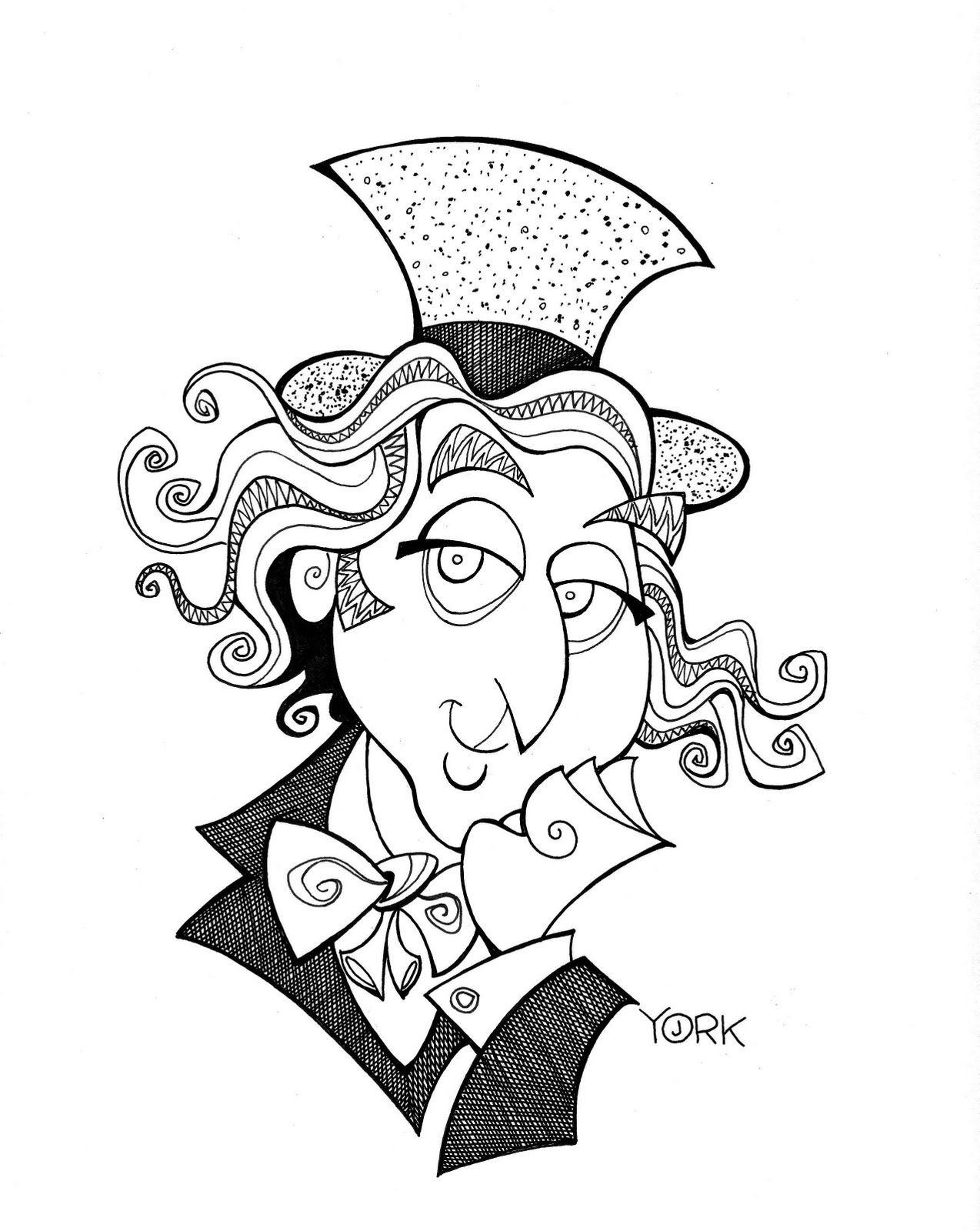Original caricature of Gene Wilder as Willy Wonka by Jeff York ...