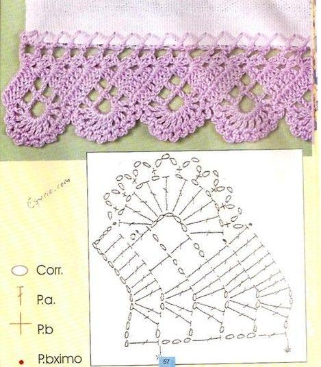 Puntillas y bordes de crochet 11 ganchillo cenefas y puntillas pinterest bico de croch - Cenefas de crochet ...