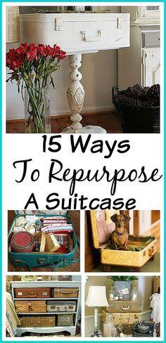 15 ways to repurpose a suitcase holzkiste koffer und kreativit t. Black Bedroom Furniture Sets. Home Design Ideas