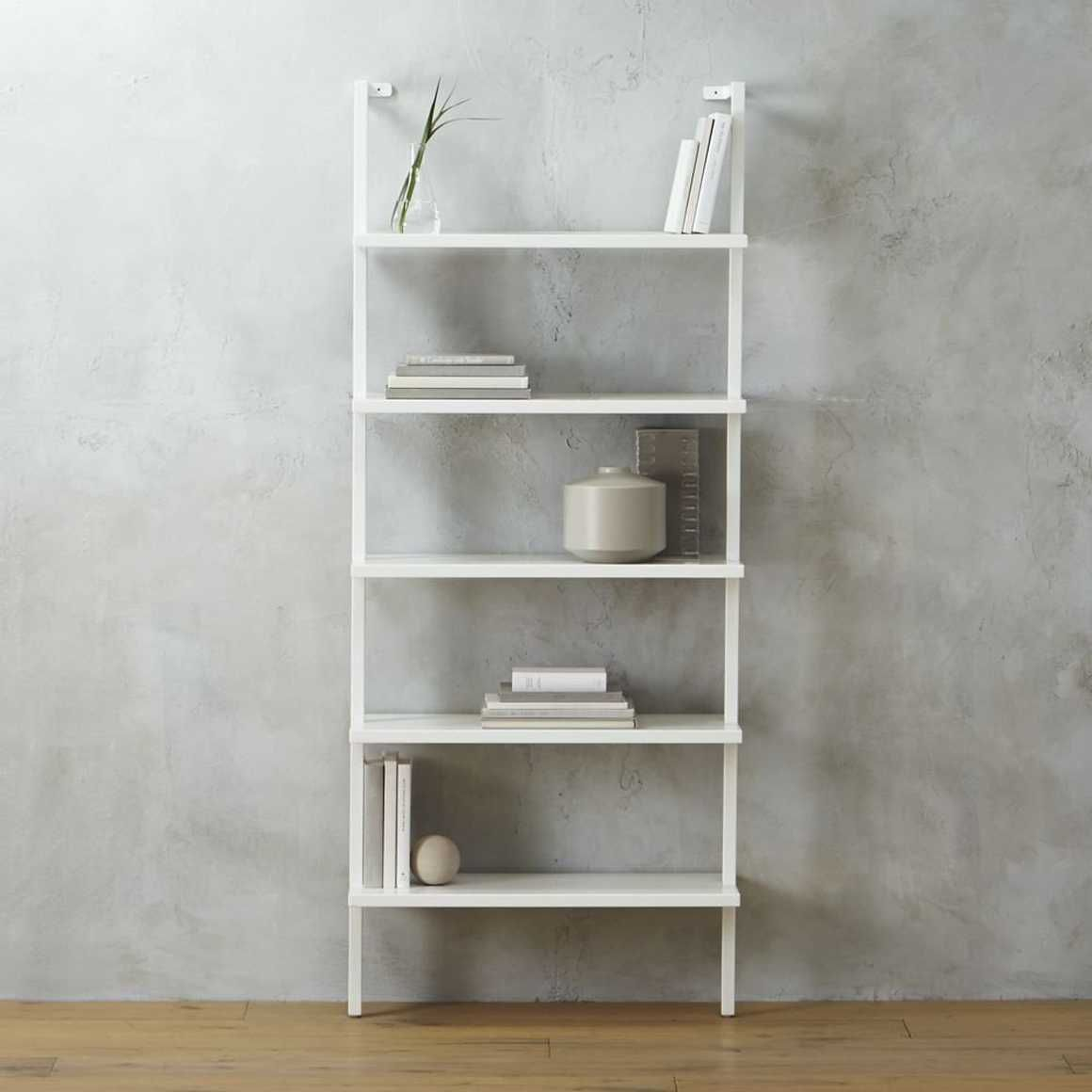 Stairway White 72 5 Wall Mounted Bookcase Cb2 Wall Mounted Bookshelves White Bookcase Bookcase Wall